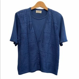Alfred Dunner Vintage Granny's Oversized Design Cardigan Twinset Blue Size XL